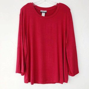! Magellan's Solid Red Wide Sleeve Casual Shirt